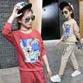 Cartoon Rabbit Printing Girl Clothing Set 2017 Spring Casual Girl Pullover and Pants Sets Cute Children Kids Sports Set for Girl