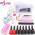 NAIL ART BASE TOOL  9W UV Lamp & 6 Color 10ml soak off  Gel  nail base gel  top coat gel nail polish set kit Manicure Tools A005