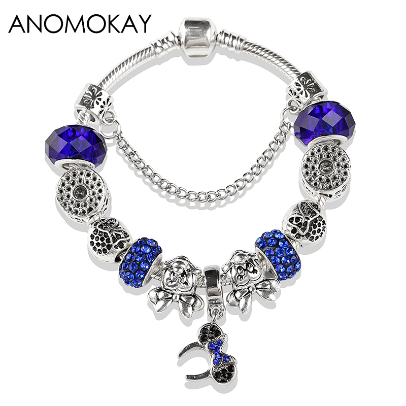 European & American Royal Blue Crystal Pandora Beads Bracelet Antique Silver Mickey Minnie Charm Bracelet for Diy Jewelry Making