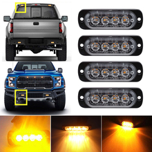 цена на Amber 4LED Car Truck Emergency Beacon Warning Hazard Flash Recovery Strobe Light BARS 12V  waterproof