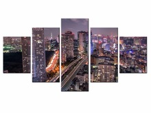 Wholesale Hot Sales Framed 5 Panels Picture City night scene HD Canvas Print Painting Artwork Wall Art painting /City-147