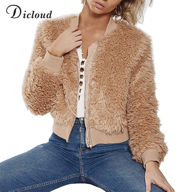 Dicloud fleece bomber jacket women winter warm coat autumn 2018 fuzzy jacket with fur casual sherpa teddy bear jacket streetwear-in Basic Jackets ...
