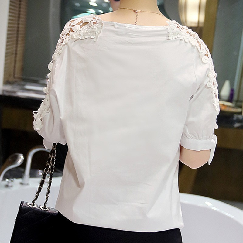 Summer Women Lace Blouses 2017 Fashion Woman Lace Shirt Hollow Out Casual Short Sleeve Women Shirts Tops Plus Size Clothing 5XL