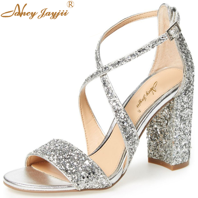 899618c27ea283 Silver Gold Sandals Glitter Bling Wedding Holidays Shoes For Women Crossed  Tie Big Size 45 High Heels Chunky Summer Party Beach