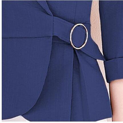 Sept blanc Été Orange Costume Blazers Mesdames Slim Printemps Grande Casual Coréenne Manches Lady Court Blanc Manteau Office blue 2018 Blazer Taille Femmes wPHqn1X