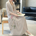2016 New National Style Vintage Women Dress Summer Fashion Print Casual Loose Long Dress Plus Size Vestidos Women Clothing 1807