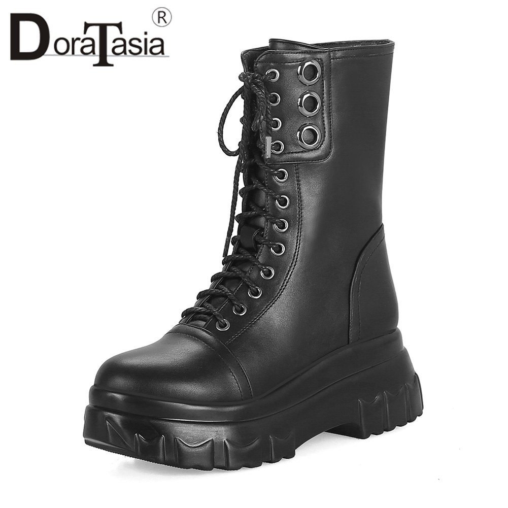DORATASIA Fashion Large Size 33 42 Black mid calf Motorcycle Boots Women Platform Winter Warm Fur