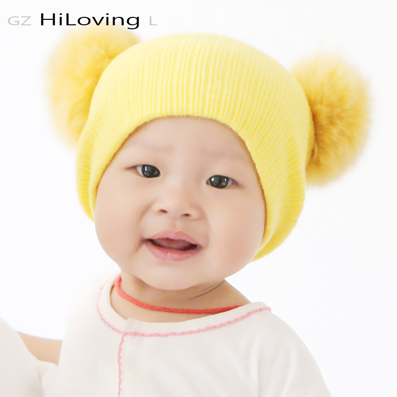 2016 Cute Winter Beanie Hat With Fox Fur Pompom Knitted Hat For Baby Girls Boys Kids Child Soft Warm Double Fur Ball Gorros Caps new star spring cotton baby hat for 6 months 2 years with fluffy raccoon fox fur pom poms touca kids caps for boys and girls