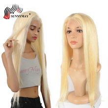 Sunnymay 13x6 Blonde Lace Front Human Hair Wigs #613 Color Straight Brazilian Remy Wig