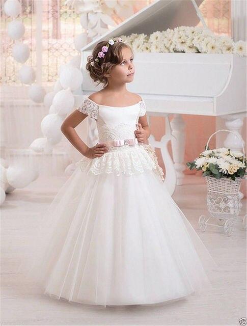 2017 Lovely Strapless Flower Girl Dresses for Wedding Vintage White ...