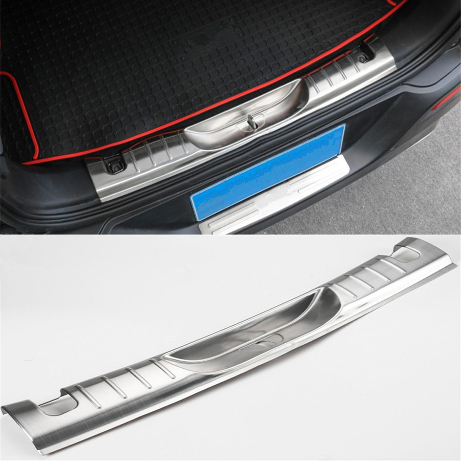 YAQUICKA For Jeep Cherokee 2014-2016 Stainless Steel Car Interior Rear Bumper Guard Plate Trim Sticker Styling Cover stainless steel rear outer bumper protector guard plate for jeep grand cherokee 2014