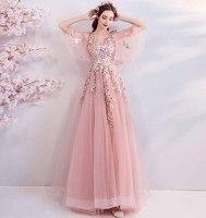Ручной работы Тяжелая вышивка бисером Делюкс вечерние платье свадебное розовое платье Красный ковер вечернее бальное платье для женщин бо