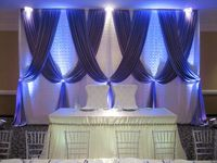 White Lace Wedding Backdrop with royal blue swags Luxury Wedding Decoration