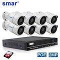 SAR 1080P IP камера 8CH 4CH POE NVR система безопасности металлическая 2.0MP IR Наружная цилиндрическая IP камера P2P комплект видеонаблюдения 2 ТБ HDD