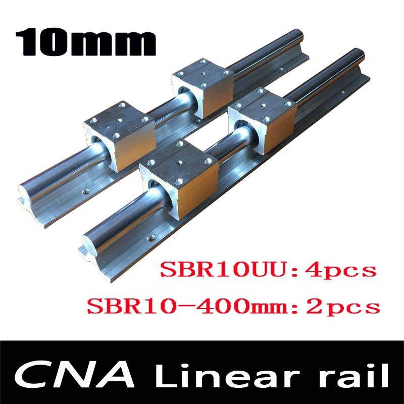 2pcs SBR10 L 400mm linear rail support with 4pcs SBR10UU linear guide auminum bearing sliding block cnc parts
