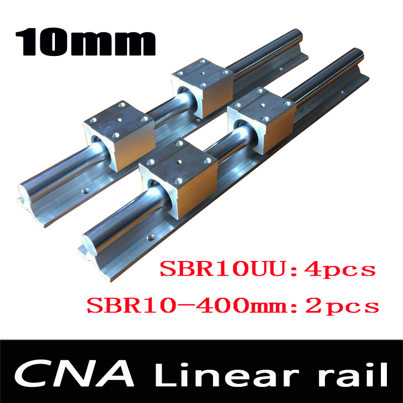 2pcs SBR10 L 400mm linear rail support with 4pcs SBR10UU linear guide auminum bearing sliding block cnc parts