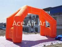 Customized free standing Blue Inflatable Start Line/Finish Line arch Can hanging Small time clock lower than 3KG