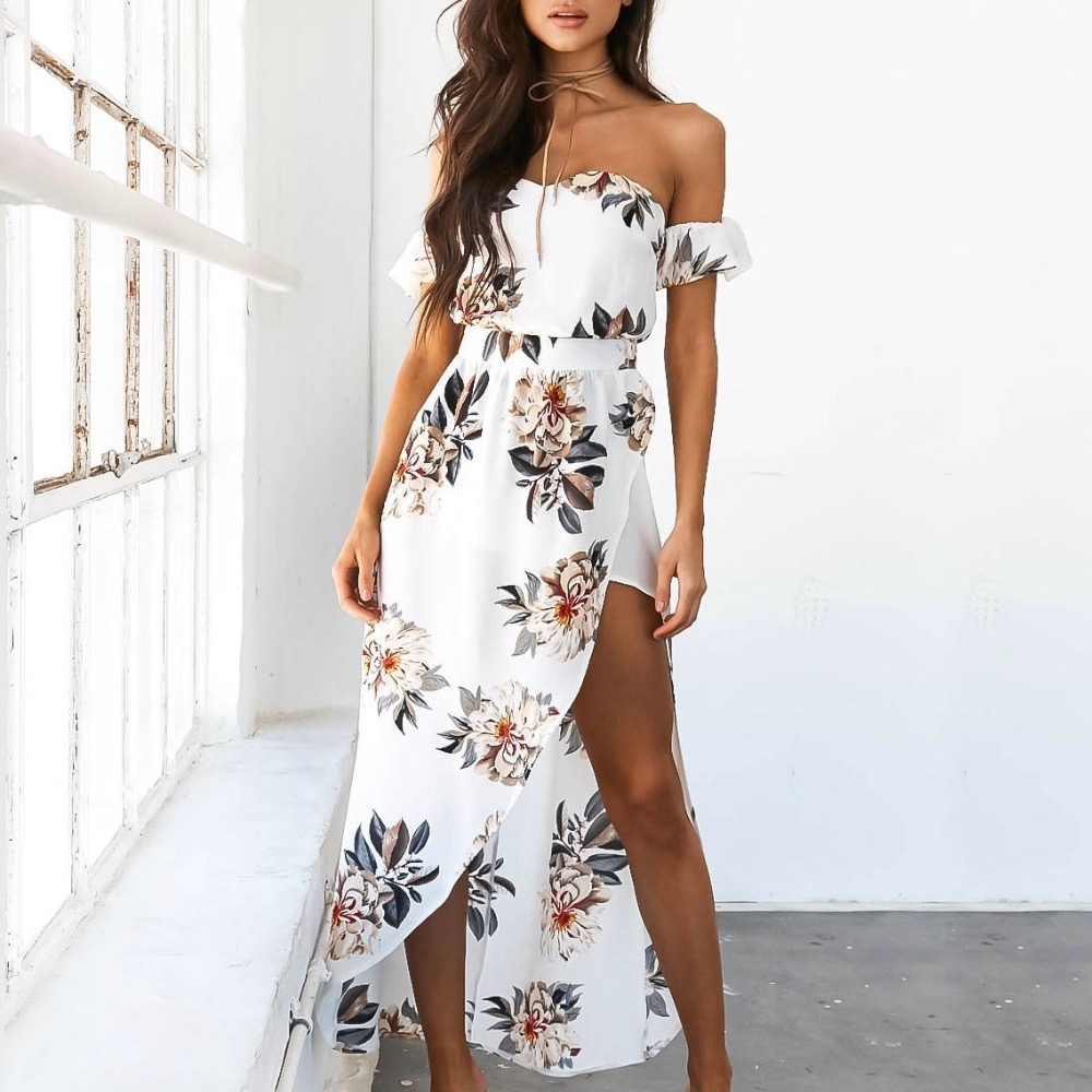 2017 Boho style long <font><b>dress</b></font> women Off shoulder beach summer <font><b>dresses</b></font> Floral print Vintage white maxi <font><b>dress</b></font> image