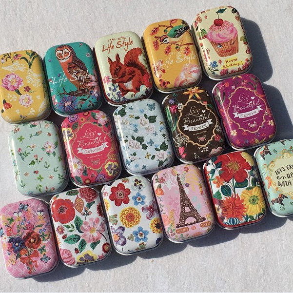 40pcslot Flower Design Small Handbag Storage Jewelry Decorative Tin Simple Decorative Metal Boxes With Lids