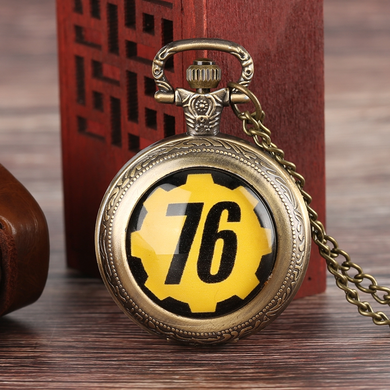 Fallout 76 Vault 111 FALLOUT 4 Theme Quartz Pocket Watch Pendant Retro Bronze Chain Necklace Unique Souvenir Gifts for Game Fans (3)