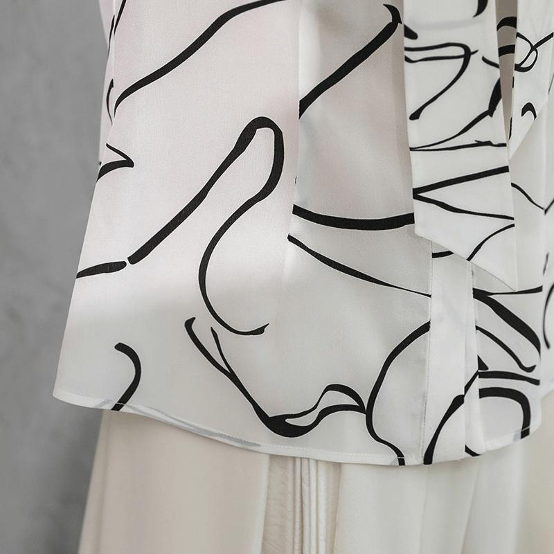 Tops Oficina Mujeres Camiseta Slim Camisa De Seda Mujer Cinta Las Pesado Arco Básicos B581 Dulce Impresión Harajuku Voa Blusa Graffiti Blanco Camisetas xXBqvwYB8