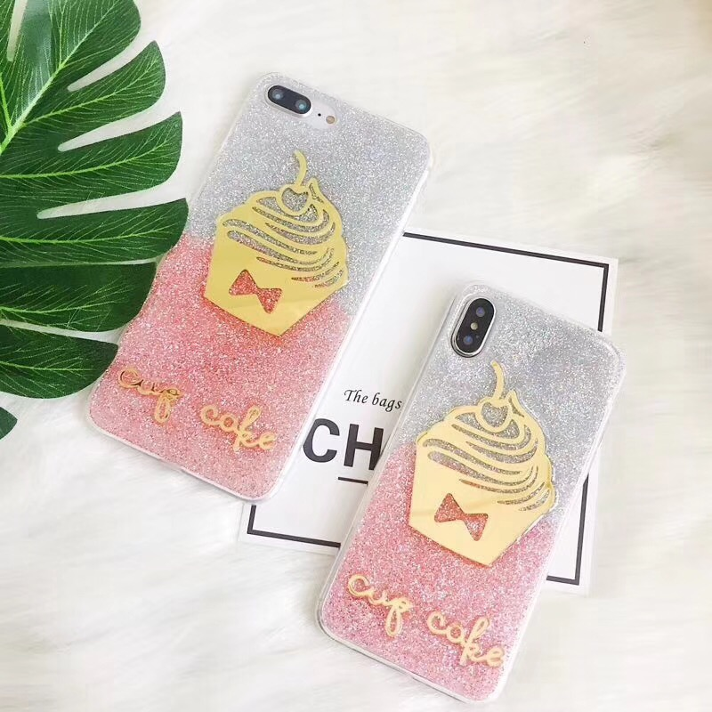 New Fashion Funny Bling bling silicone cover for apple iphone8 x 6 7 s Plus 6s Plus 7 Plus liquid 3d golden stylish case cover