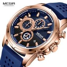 ساعات كوارتز من MEGIR للرجال بحزام من السيليكون ساعة يد كرونوغراف للرجال ساعة رجالية فاخرة من علامة تجارية فاخرة للأولاد 2101 باللون الأزرق الوردي