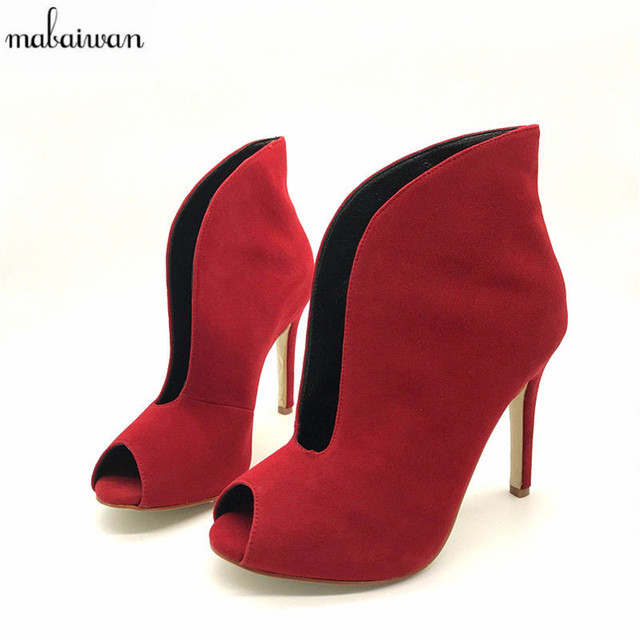 adbb688ca2b Mabaiwan Fashion Suede Women Peep Toe Summer Boots Deep V Front Ladies High  Heels Slip On Dress Shoes Women Pumps Short Booties