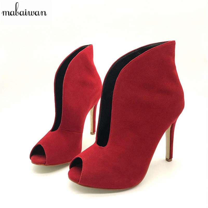 Mabaiwan Fashion Suede Women Peep Toe Summer Boots Deep V Front Ladies High Heels Slip On Dress Shoes Women Pumps Short Booties