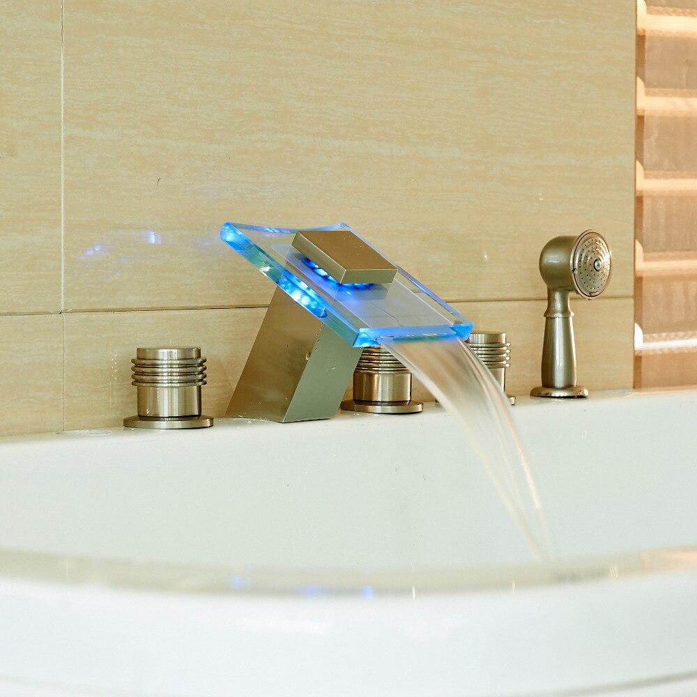 LED Color Glass Spout 3 Handles Bathtub Filler Faucet Mixer Tap with Hand Shower
