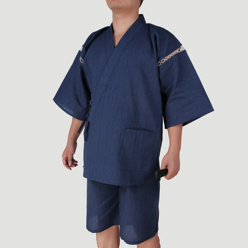 2019 Summer Men Japanese Kimono Short Sleeve Sleepwear Vintage Men Home Dressing Gown Traditional Bathrobes Pajamas 062513