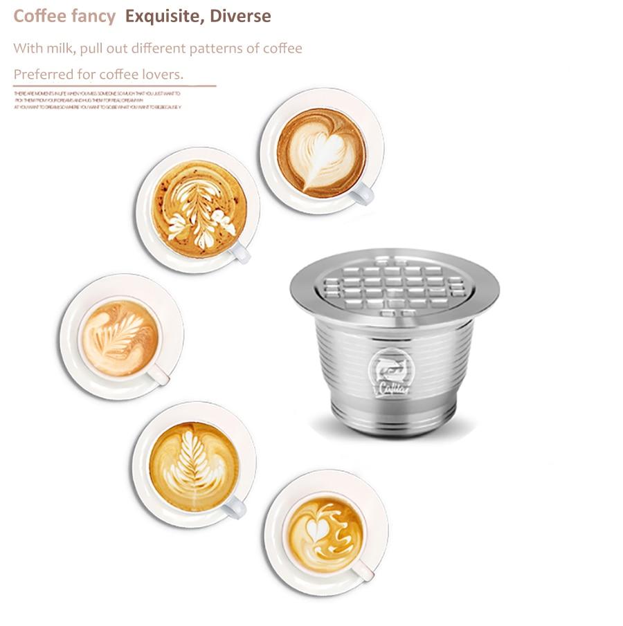 ICafilas inoxidable Metal recargable reutilizable Nespresso cápsulas de café cuchara con Clips de manipulaciones para cápsula Nespresso