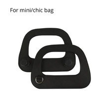 New Mini Oblong Faux Leather Handle with Silver Metal D Buckle Edge Painting Process for O Bag Mini and O Chic Handbag Parts cheap TANQU handle- fd-01