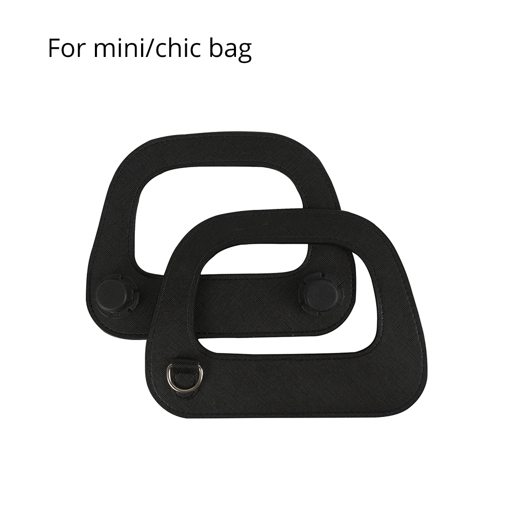 New Mini Oblong Faux Leather Handle With Silver Metal D Buckle Edge Painting Process For O Bag Mini And O Chic Handbag Parts
