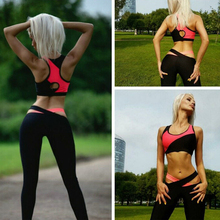 Women's Clothing Set Yoga Set For Gym Crose Patchwork Backless Sexy Fitness Pink Sportswear Sports Suit feminina