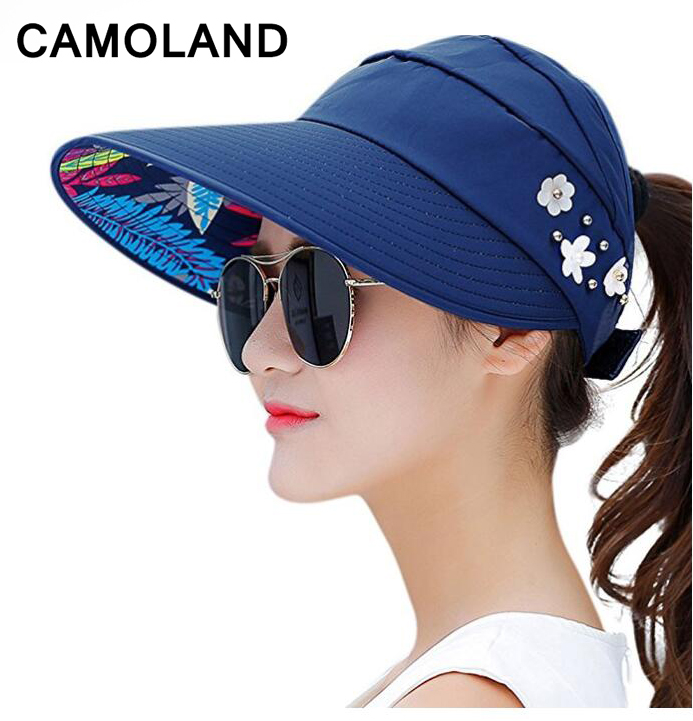 Upf50 Baseball Cap For Women Summer Sun Hat Adjule Foldable Package Beach Floppy Visor Large Wide Brim Ponytail Hole