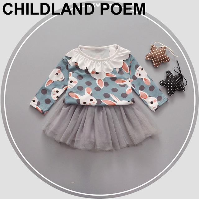 2017 primavera nueva ropa del bebé fija los cabritos del bebé niños floral t-shirt + dress 2 unids/set partido de la princesa de los bebés ropa fijada