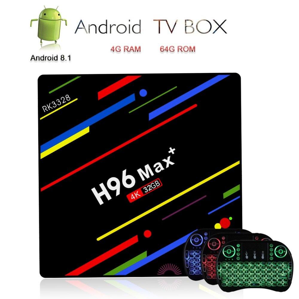H96 Max Plus TV Box Android 8.1 Smart TV 4K IPTV Set-top Box H.265 Media Player 4G 64G+i8 Backlit Keyboard Wireless Air MouseH96 Max Plus TV Box Android 8.1 Smart TV 4K IPTV Set-top Box H.265 Media Player 4G 64G+i8 Backlit Keyboard Wireless Air Mouse