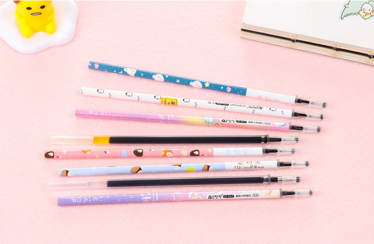 20pcs 0.35mm <font><b>0.38</b></font> 0.5 <font><b>Gel</b></font> <font><b>Pen</b></font> <font><b>Refills</b></font> Black cute stationery Caneta for kids writing gift School Office Supply Escolar Papelaria image