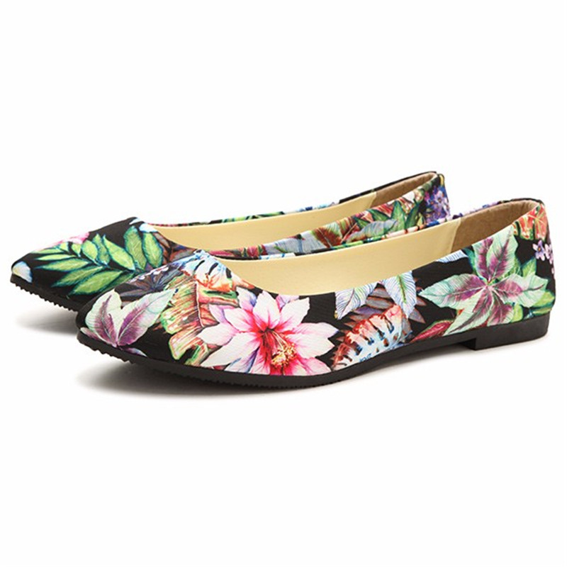 New Printing Flower Loafers Women Flats Shoes Korean Style Summer Printed Watercolor Flat Zapatos Ladies Slip-on Casual Shoes 2017 new arrival print women canvas shoes hot game deus ex printed flat shoes slip on hip hop cool summer loafers