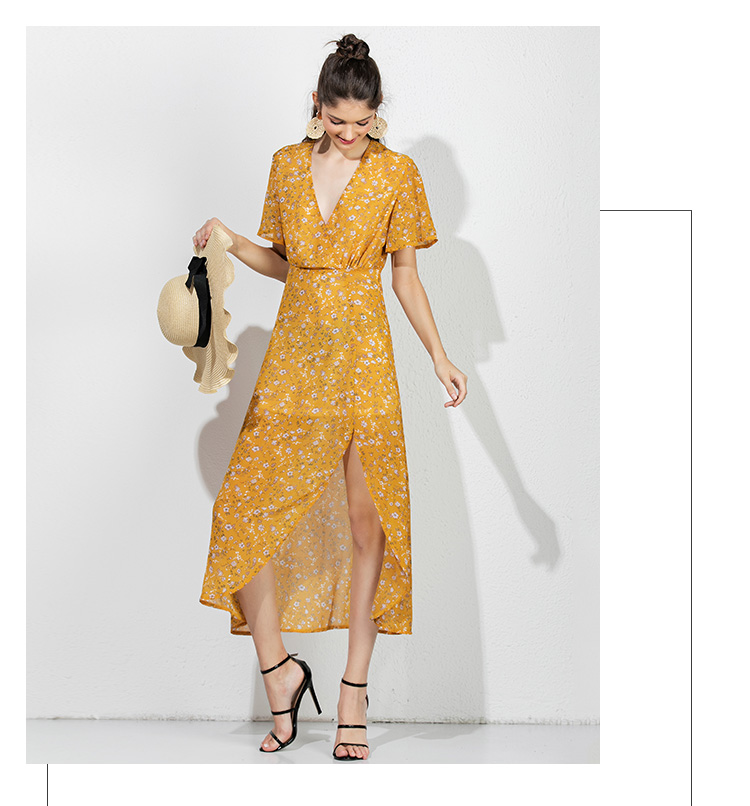 01a57f4a672c4 Mostnica Yellow Floral Plunging Split Long Dress for Women Boho Deep V Neck  Gauzy Asymmetrical Flare Beach Maxi Dresses Summer