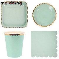 MEIDDING 1set Gold Foil Festival Disposable Tableware Party Paper Picnic Plates Wedding Decor Home Table Brithday