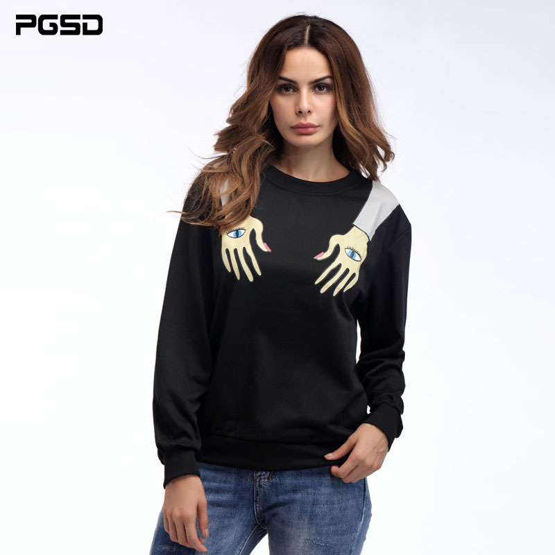 PGSD Simple Fashion Women Clothes Eyes Arms Personality Printing O-necked long sleeved loose Black Sweatshirt Pullovers female