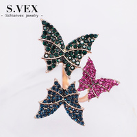 New Colorful Crystal Butterfly Ring Korea Brand Statement Rings Adjustable Size Fashion Magazine Jewelry For Women