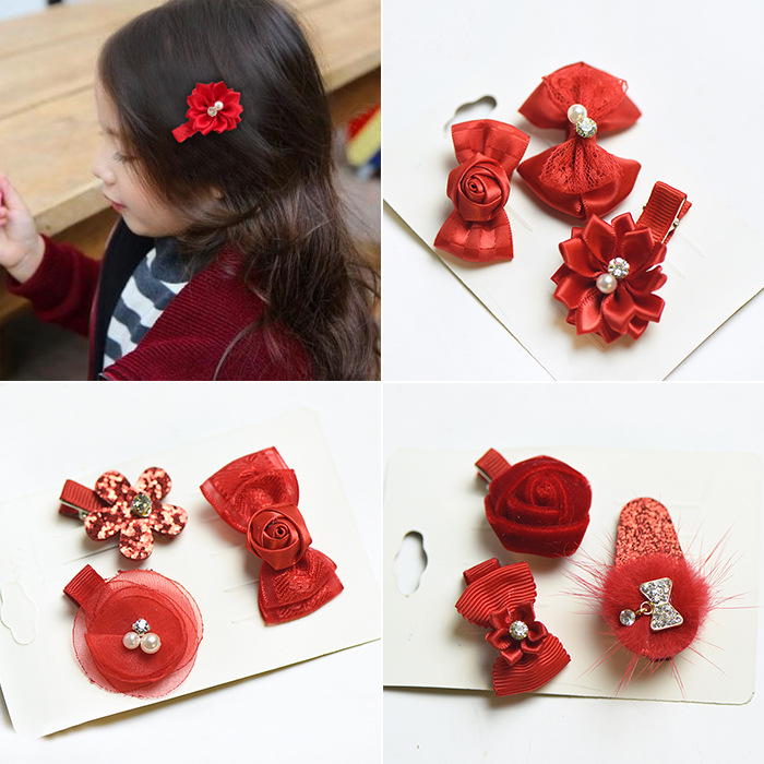 3Pcs New year Fabric Accessories Red Childrens Hair Clips Combination Cute Baby Girl Clip Set Hair Clip Acessorio De Cabelo T