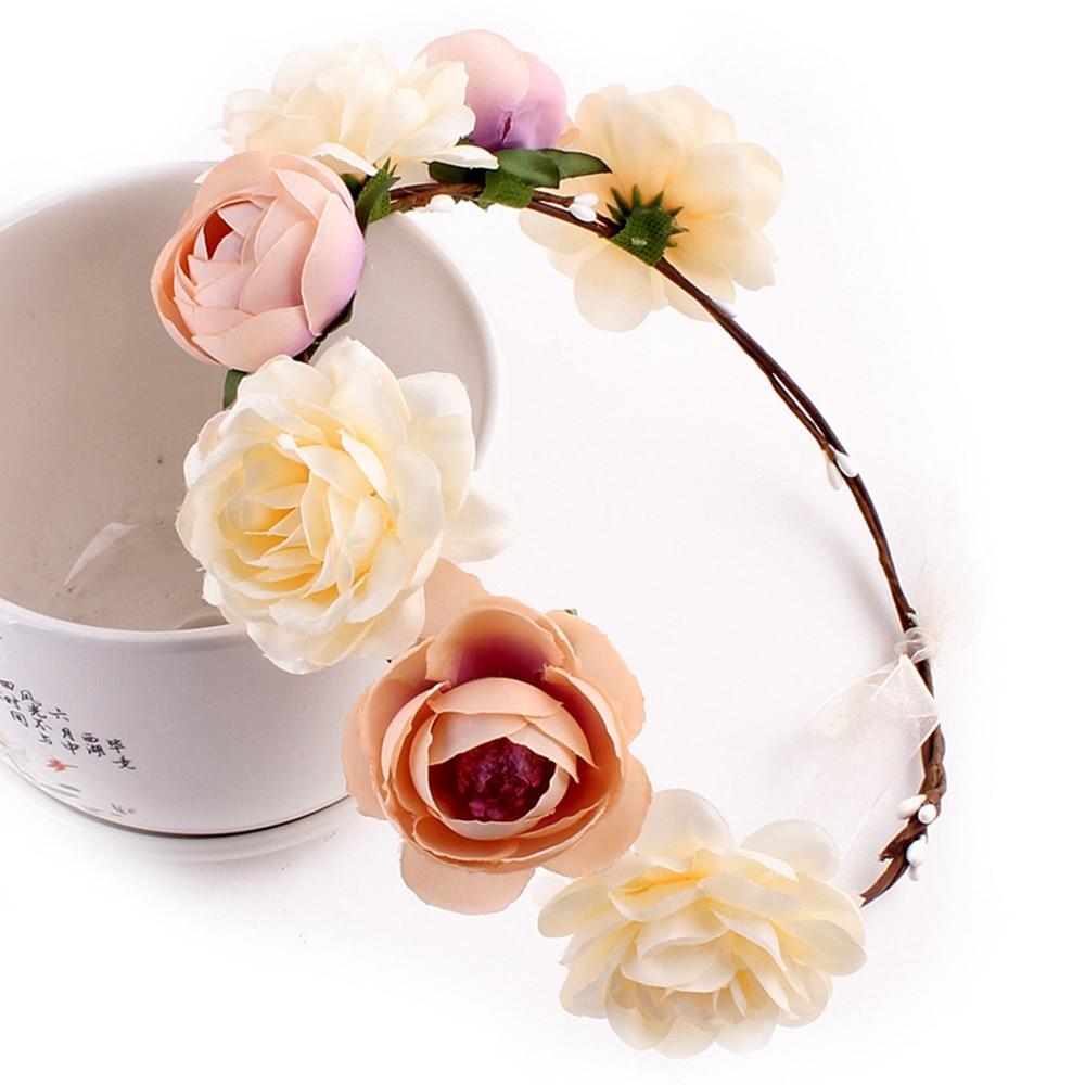 Bohemia Handmade Flower Crown Hairband Garland Wedding Vacation Tour