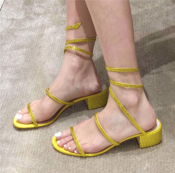 Ankle Wrapped Women Sandals Diamond Rhinestone Beach Slipper Square Heel Woman Casual Shoes Candy Color Summer Flat Sandals