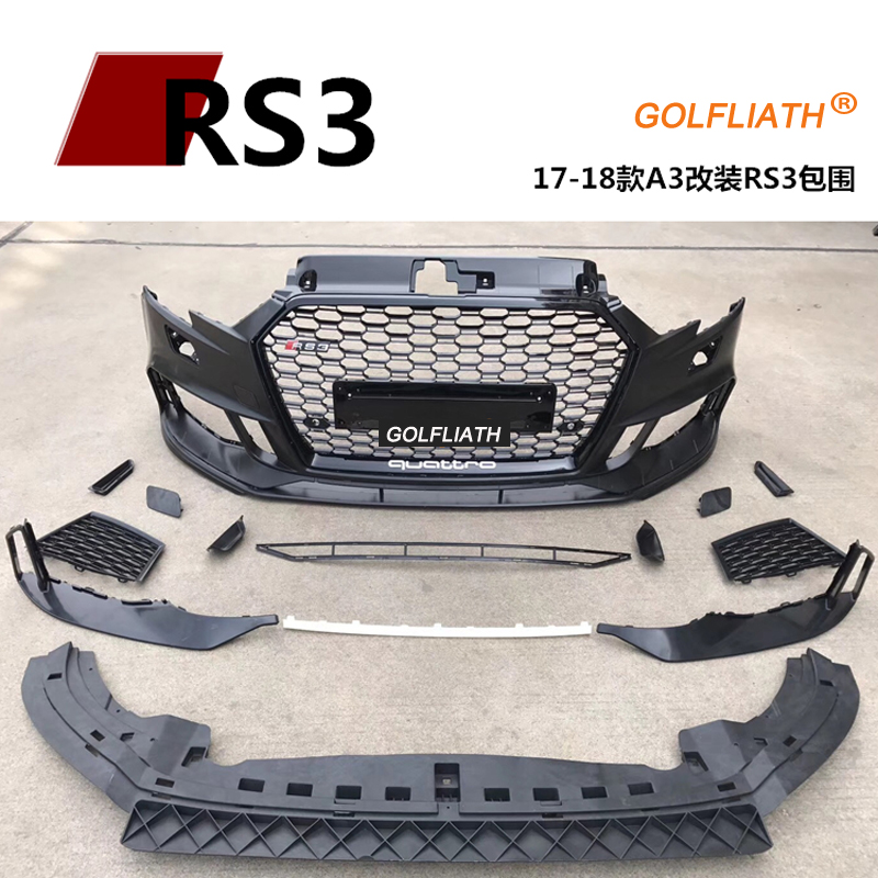 Newest RS3 style PP+ABS front bumper kits body kit Assembly center grille For Audi A3 2017-2018 sedan brand new a3 rs3 abs oem style auto car front bumper mesh grills with camera hole for audi fit for a3 rs3 2013 2014