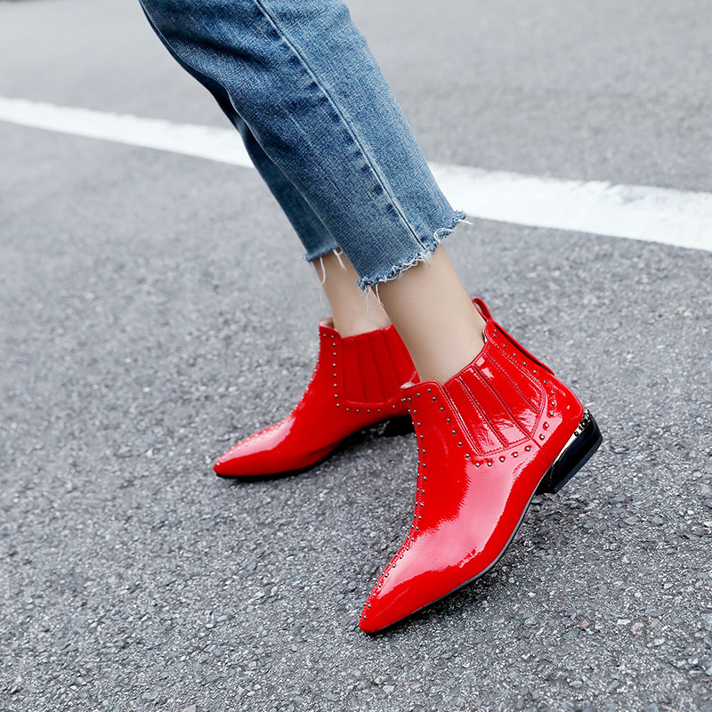 YMECHIC Fashion Low Chunky Heels Ankle Chelsea Boots Red Black Patent Leather Rivets Pointed Toe Ladies