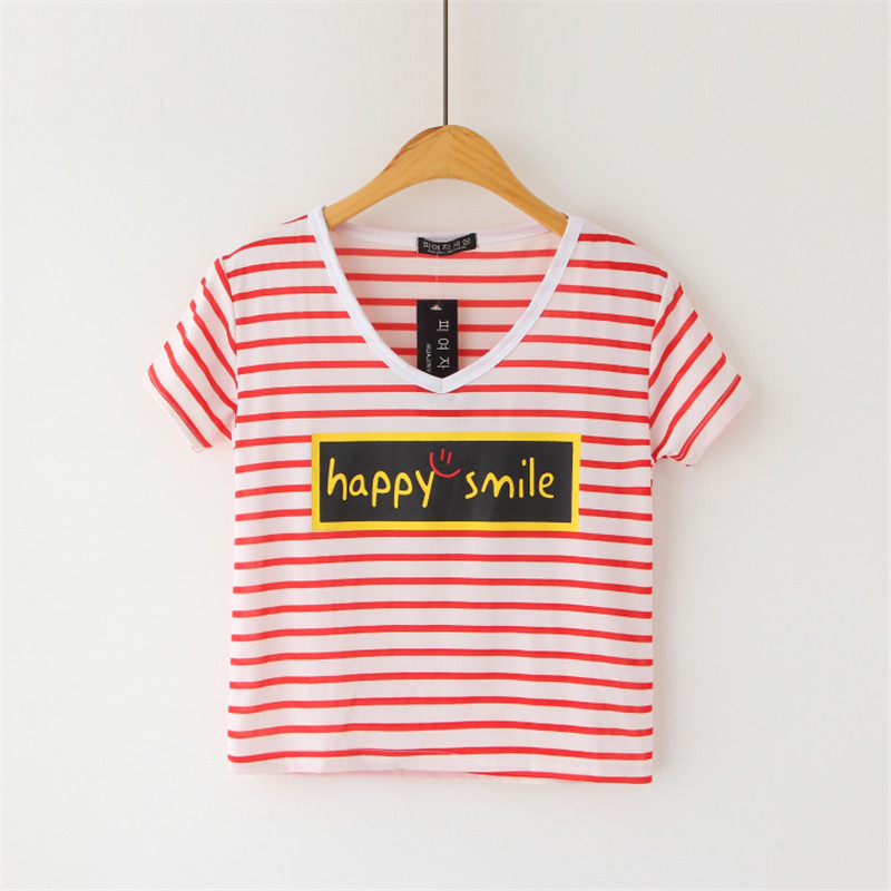 Buy 2018 new Women's crops top striped t shirt tops short-sleeve T-shirt v-neck tops & tees casual crop top Harajuku happy letter for $6.72 in AliExpress store